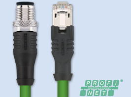 Industrial Ethernet connection double-ended cordset, M12x1- RJ 45 (for Profinet encoders)